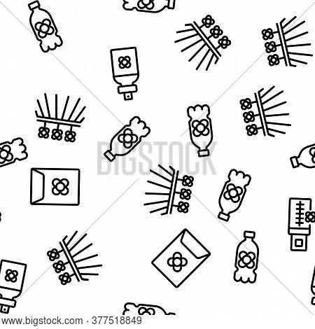 Canola Agricultural Vector Seamless Pattern Thin Line Illustration