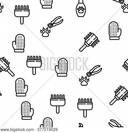 Grooming Animal Tool Vector Seamless Pattern Thin Line Illustration