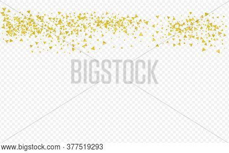 Yellow Shine Happy Transparent Background. Christmas Sparkle Banner. Gold Shards Anniversary Pattern