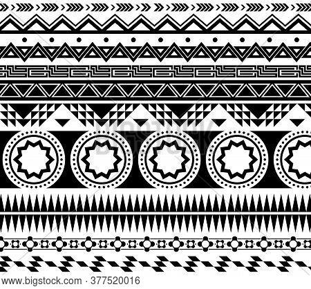 Black Ethnic Ornament Pattern Set. Geometric Prints In Aztec, Arabic, Egyptian Or Native American St