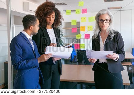 Focused Businesspeople Reading Documents With Statistics. Successful Concentrated Office Employers I