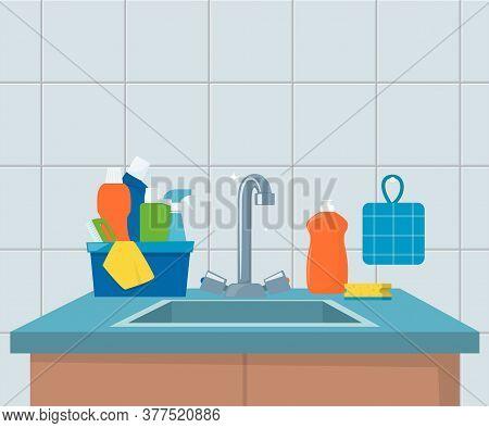 Kitchen Sink. Clean Sink With Kitchenware, Modern Furniture And Utensils. Washing Dishes Kitchen Sin