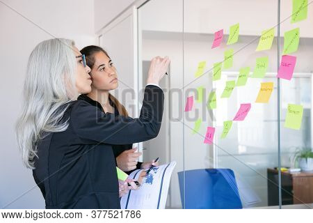 Concentrated Businesswomen Looking At Stickers On Glass Wall. Focused Grey-haired Female Worker Maki
