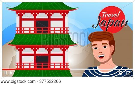 Man Travels To Japan. Traditional Oriental Architecture. Japanese Pagoda. The Land Of The Rising Sun