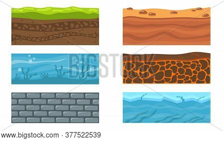 Types Of Ground Set. Dessert Sand And Clay, Ocean Water And Seaweeds On Ground, Ice And Sea, Layers