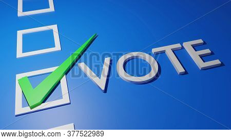 White Text Vote With Green Check Correct Sign In White Blank Box Isolated On Blue Background, 3d Ren