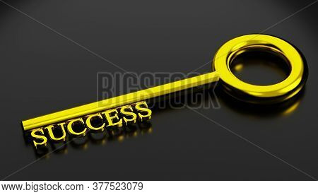 Key To Success Concept. Shiny Golden Key To Success Isolated On Black Color With Reflection, 3d Rend