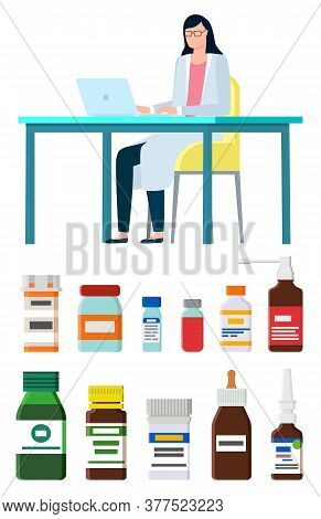 Online Medicine And Help Of Doctor Vector, Isolated Set Of Bottles With Medications And Pills. Consu