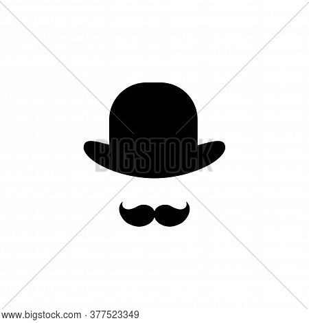 Gentleman Icon Isolated On White Background. Silhouette Of Man S Head With Big Moustache And Bowler