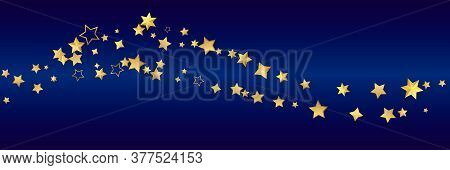 Golden Realistic Flying Stars Isolated On Blue. Luxury Shiny Little Random Stellar Falling. Wave Of