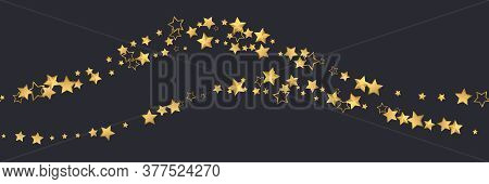 Golden Realistic Flying Stars Isolated On Black. Luxury Shiny Little Random Stellar Falling. Wave Of