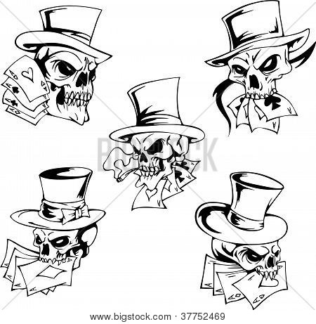 Skulls With Playing Cards