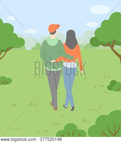 Man And Woman Cuddling And Walking In Park Vector, Date Of Boyfriend And Girlfriend. Forest With Tre
