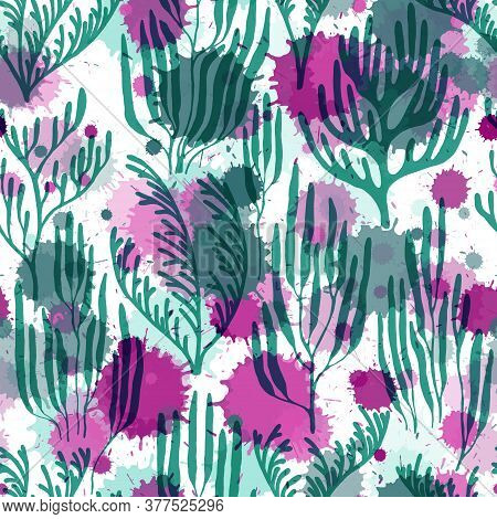 Coral Polyps Seamless Pattern. Paint Splashes Drops Watercolor Background. Underwater Plants Textile