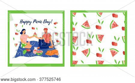 Set Of Cards For Picnic Day With Couple Having A Summer Picnic Together, Flat Isolated Vector.
