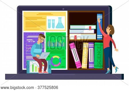 Education And Online Courses, Students And Internet Library In Laptop Isolated Icon Vector. Textbook
