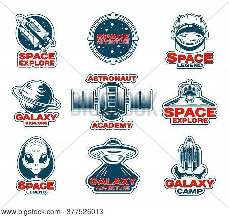 Space Exploration Patches Set. Patch With Saturn Planet, Stamps With Shuttle And Rocket, Badges With