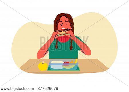 Dinner, School, Food, Break, Childhood Concept. Young Child Kid Girl Tennager Pupil Cartoon Characte
