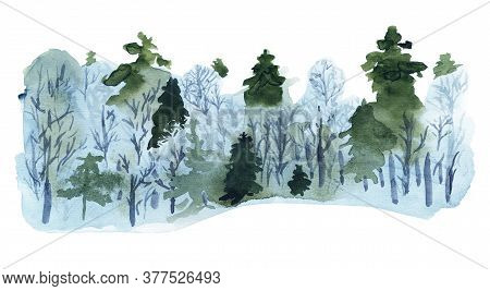 Winter Forest Watercolor. Good Design For Seasonal Greeting Cards, Flyers Etc. Ecological And Enviro