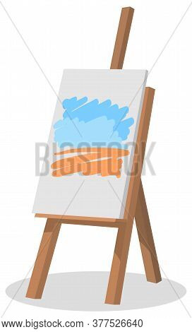 Wooden Easel With Canvas Vector, Drawing And Creative Artistic Activity. Hobby Of Artist, Creating N