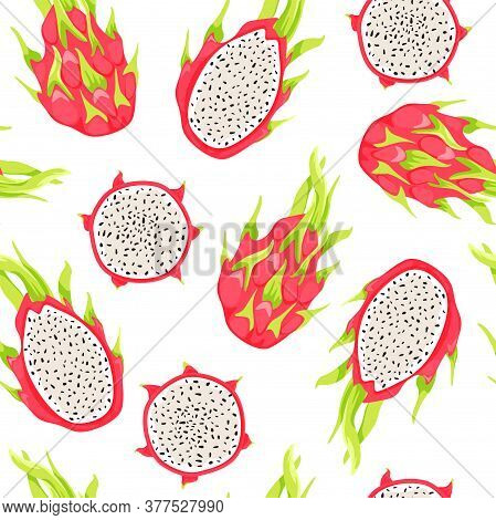 Seamless Tropical Pattern With Dragon Fruits And Pitahaya Slices. Healthy Eating. Vector Texture For