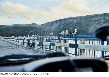 View On Railing Of Bridge And Water Of River Below. Hills In Nature Landscape In The Evening Or Duri