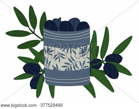 Dark Blue Olives In A Gray Tin Can. Greek Food Sale Concept. Olive Oil Products. Olive Tree Branches