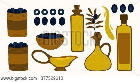 A Large Set Of Greek Food. Black Olives, Olive Branches And Oil. Bottles, Bowls And Jars Of Olive Oi