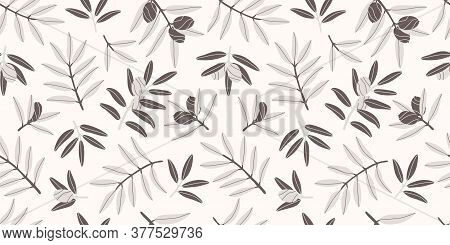 Natural Products For A Mediterranean Lunch. Seamless Repeating Pattern. Pattern With Greek Food. Con