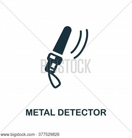 Metal Detector Icon. Simple Element From Police Collection. Creative Metal Detector Icon For Web Des