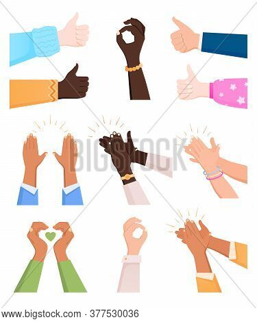 Clapping Ok Heart Hands Applause Flat Icon Set Of Isolated Human Hand Images On Blank Background Vec