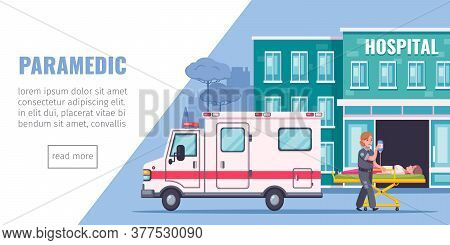 Paramedic Aid Cartoon Page With Hospital Ambulance Aand Reanimation Symbols Vector Illustration
