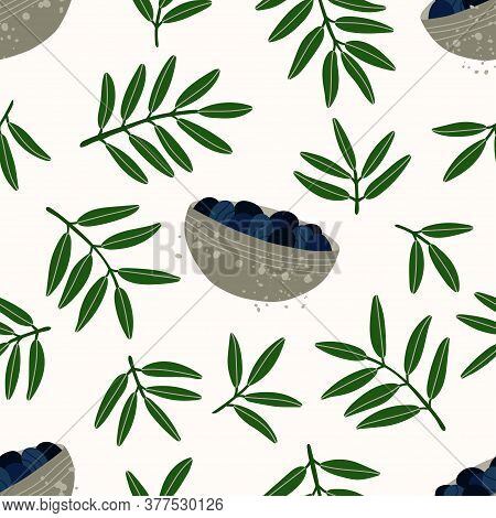 Seamless Repeating Pattern. Olive Branches. Natural Products For A Mediterranean Lunch. Pattern With