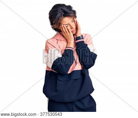 Young beautiful woman wearing sportswear rubbing eyes for fatigue and headache, sleepy and tired expression. vision problem