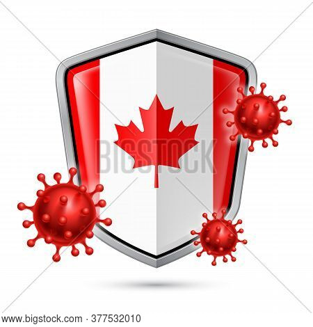 Flag Of Canada On Metal Shiny Shield Icon And Red Corona Virus Cells. Concept Of Health Care And Saf
