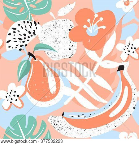 Modern Seamless Tropical Pattern With Apple, Pear, Flower, Tropical Leaves And Banana. Creative Cont
