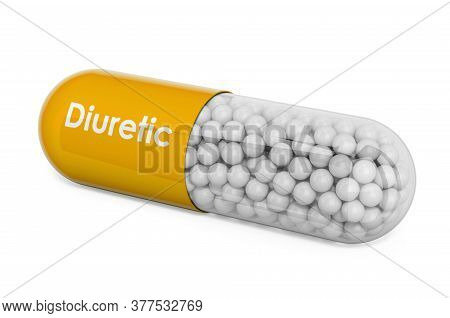 Diuretic Drug, Capsule With Diuretic. 3d Rendering Isolated On White Background