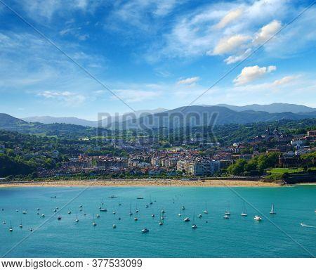 Sand beach in the town center of San Sebastian in Bay, Spain