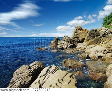 Landscape of the blue sea and rocks.