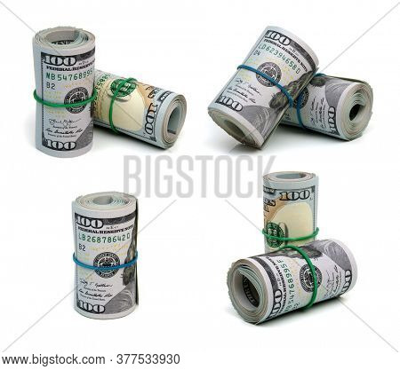 Set of money roll dollars isolated on the white background