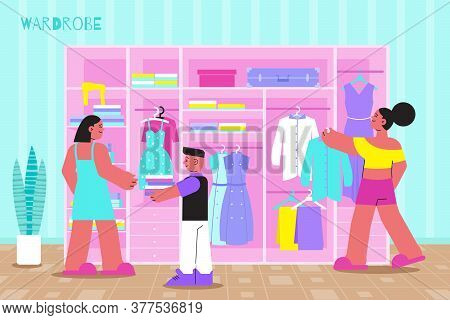 Spring Cleaning Wardrobe Declutter Flat Composition With Family Revising And Disposing Old Clothes O