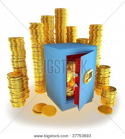 coins euro money in the safe