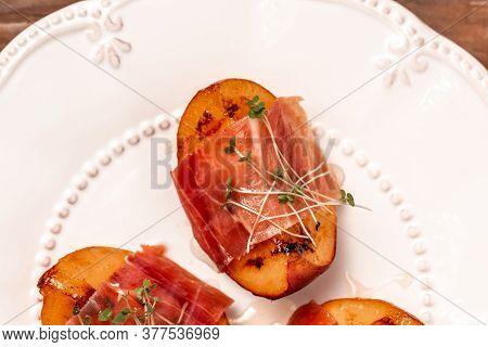 Italian Antipasti Wine Snacks Set Grilled Peach With Prosciutto, Microgreen.