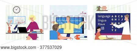 Tutoring Set Of Three Square Compositions With Flat Characters Of Students And Remote Teachers With