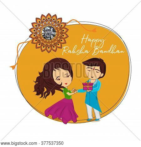 Rakhi Festival. Indian Festival For Brother And Sister Bonding Celebration Illustration Of Greeting