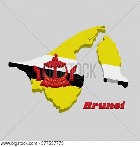3d Map Outline And Flag Of Brunei, A Centered Red Crest On Yellow Field Cut By Black And White Diago
