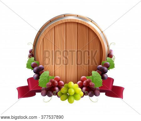 Wooden Barrel Emblem Realistic Composition With Vine Grapes And Red Ribbon Tied Round The Wine Cask