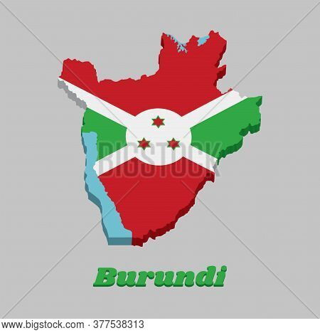 3d Map Outline And Flag Of Burundi, A White Diagonal Cross Divided Into Four Panels Of Red And Green