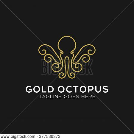 Gold Octopus Logo Design With Line Art Style. Abstract Octopus Icon Vector Illustration