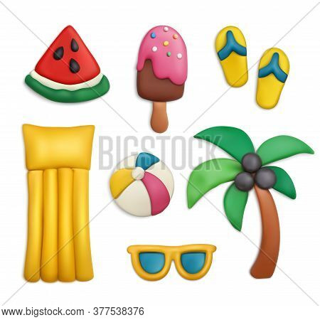 Plasticine Modeling Clay Sea Beach Summer Vacation Objects Realistic Set With Palm Flip Flops Isolat